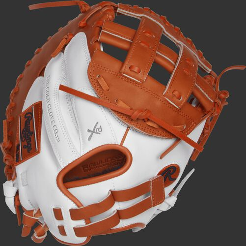 RLACM33FPWO 33-inch Liberty Advanced fastpitch catcher's mitt with a white back and Pull-Strap back design
