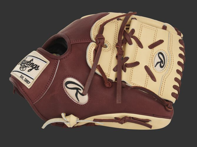 Sherry thumb of an exclusive Heart of the Hide 11.75-Inch Wing Tip glove with a camel 2-piece solid web - SKU: PRO205-9CSH