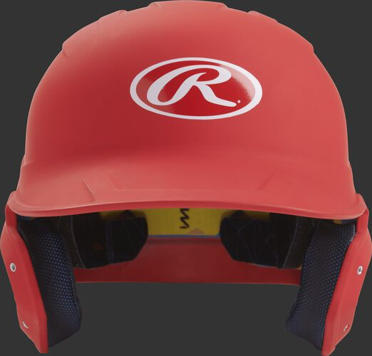 Front of a matte scarlet MACH senior size batting helmet
