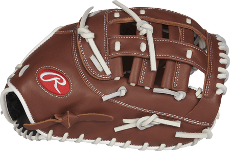 R9SBFBM-17DB R9 Series 12.5-inch fastpitch first base mitt with a brown thumb and brown Modified H web