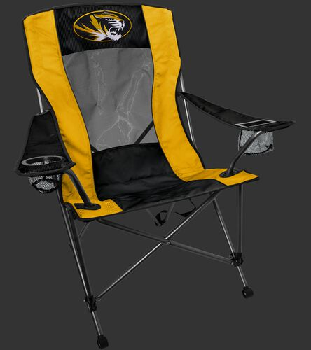 A black/yellow Missouri Tigers high back chair with the team logo on the back - SKU: 09403086519