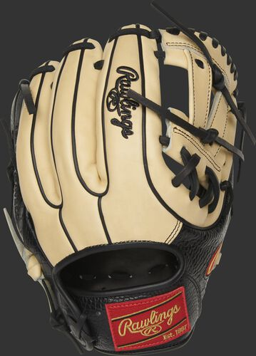 Back of a camel Heart of the Hide exclusive infield glove with black croc-embossed trim - SKU: PRO314-7BCC