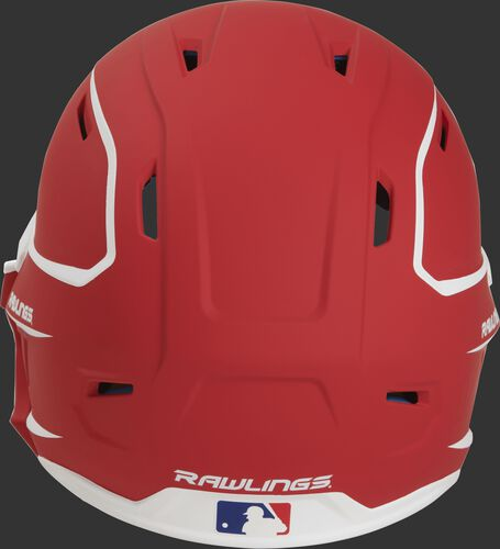 Back of a MACHEXTR high performance senior MACH helmet with a matte scarlet/white shell and Official Batting Helmet of MLB logo