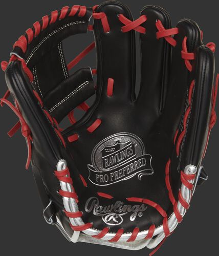 Black palm of a Rawlings Francisco Lindor glove with a black web, scarlet laces and silver stamping - SKU: PROSFL12B