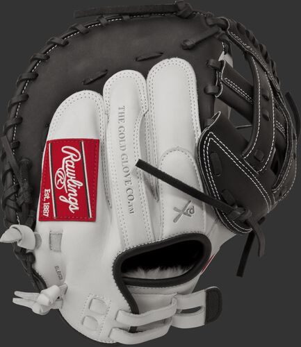 RLACM33 33-inch Liberty Advanced fastpitch catcher's mitt with a white back, black trim and Pull-Strap design