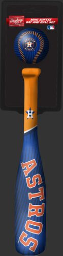 Rawlings Houston Astros Softee Mini Bat and Ball Set in Team Colors With Team Name and Logo On Front SKU #01160002114