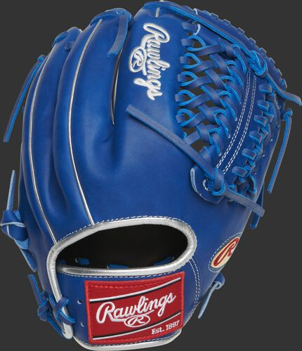 Back of a royal Marcus Stroman Heart of the Hide glove with a Modified Trap-Eze web - SKU: PRO205-MS0