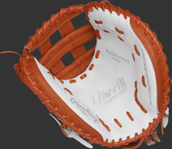 RLACM33FPWO Rawlings 33-inch softball catcher's mitt with a white palm, orange trim and orange laces