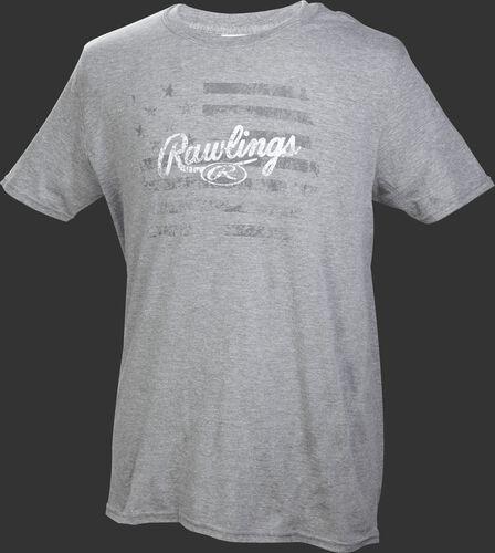 Front of Rawlings Gray Adult Short Sleeve Flag Shirt - SKU #RWFT-67