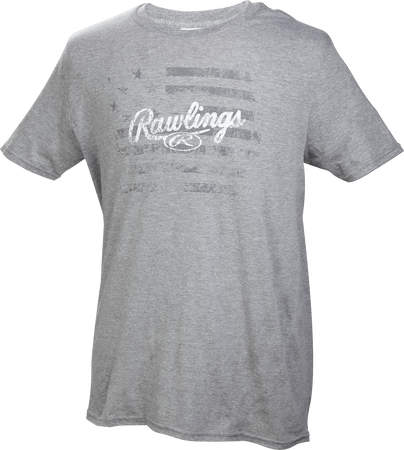 Front of Rawlings Gray Adult Short Sleeve Flag Shirt - SKU #RWFT-67