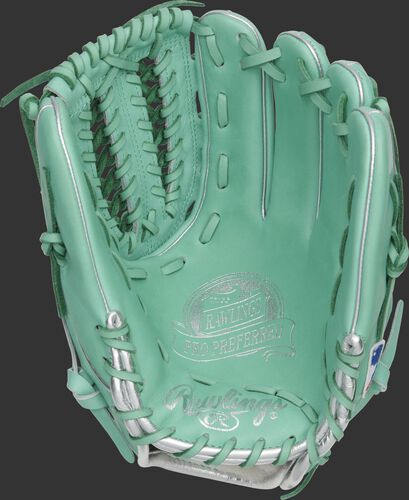 Ocean mint palm of a Marcus Stroman Pro Preferred glove with mint laces and silver stamping - SKU: PROS206-MSO