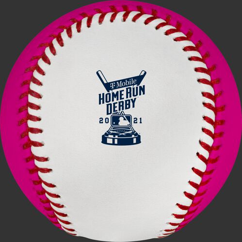 The 2021 MLB Home Run Derby logo stamped on the white side of a Home Run Derby money ball - SKU: RSGEA-ROMLBMB21-R