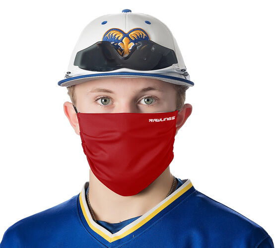 A player wearing a red Rawlings performance wear sports mask - SKU: RMSK-RED