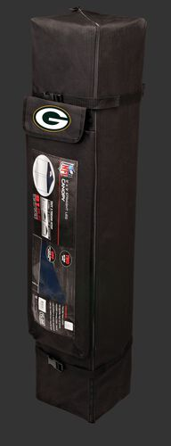 Black carry case of a 9x9 Green Bay Packers canopy with a team logo on the side compartment - SKU: 03231068112
