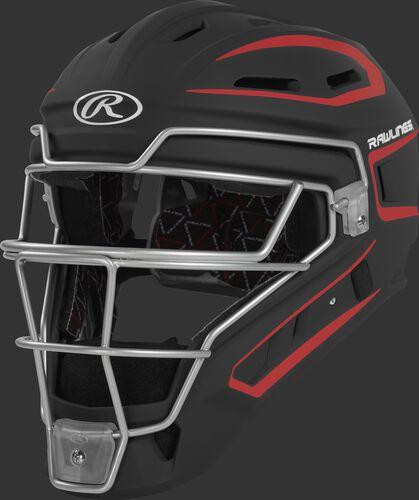 CHV27J black/scarlet Velo 2.0 youth catcher's helmet with white trim