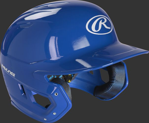 Right angle view of a MCC01 Rawlings Mach helmet with a gloss royal shell