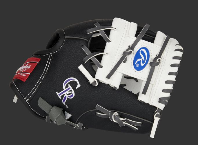 Thumb of a black/white Colorado Rockies 10-Inch team logo glove with a white I-web and Rockies logo on the thumb - SKU: 22000025111