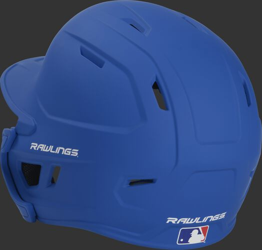 Back left view of a matte royal MACHEXTR MACH series batting helmet with air vents