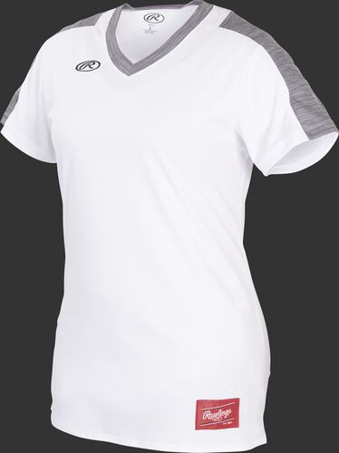 Front of Rawlings White/Gray Girl's Short Sleeve Launch Jersey - SKU #WLNCHJG-B-88