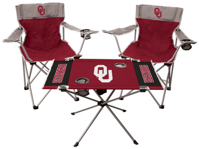 Front of Rawlings Crimson and Grey NCAA Oklahoma Sooners 3-Piece Tailgate Kit With Two Kickoff Chairs, An Endzone Table, And A Transport Bag With Team Logo SKU #00993045511
