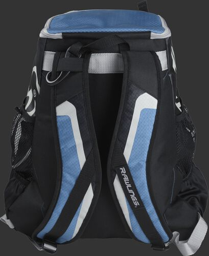 Back of black/columbia blue R500 Players team backpack with black/columbia blue shoulder straps