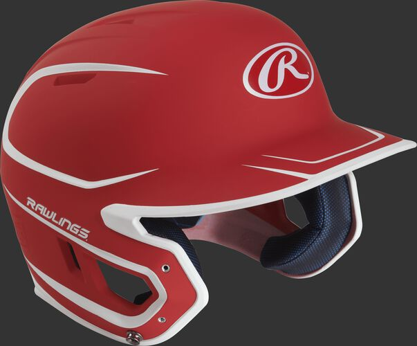 Right angle view of a matte MACH Senior batting helmet with a scarlet/white shell