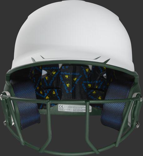 Front of a white/dark green Mach fastpitch softball helmet with a dark green mask - SKU: MSB13S-W/DG
