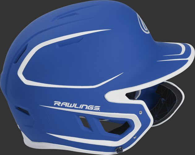 Right side of a MACHEXTR senior Rawlings batting helmet with a two-tone matte royal/white shell