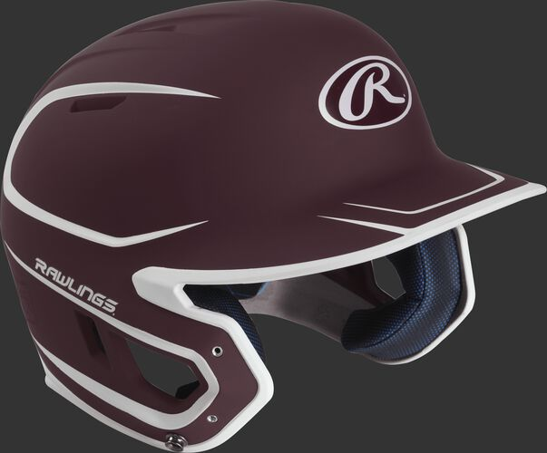 Right angle view of a matte MACH Senior batting helmet with a maroon/white shell
