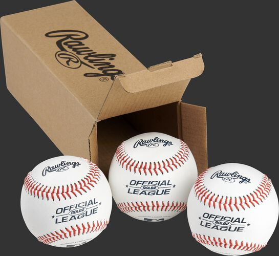 3 Rawlings practice balls in front of an open box - SKU: RSGROLB2PK3