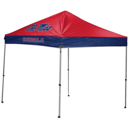 NCAA Ole Miss Rebels 9x9 canopy in red/blue team colors with a team logo printed on top