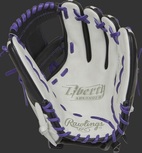 RLA715SB-2PU Rawlings Liberty Advanced Color Series glove with a white palm, black web and purple laces