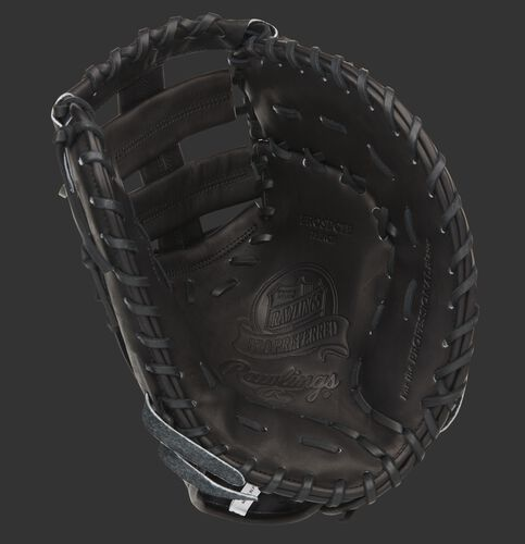 Black palm of a Rawlings Pro Preferred first base mitt with a black web and black laces - SKU: PROSDCTB