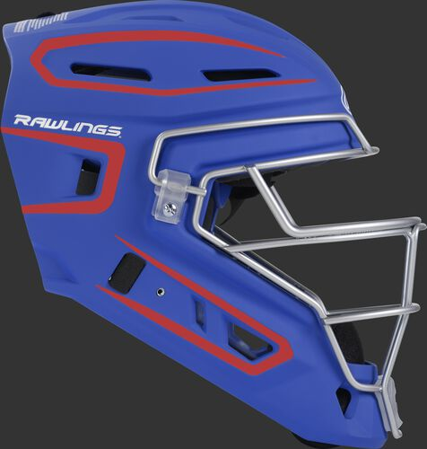 Right side of a royal/scarlet CHV27J Velo 2.0 adult size catcher's helmet