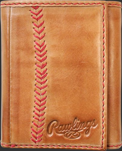 A tan MW478-204 Baseball Stitch tri-fold wallet folded close with red stitching on the left and embossed Rawlings logo