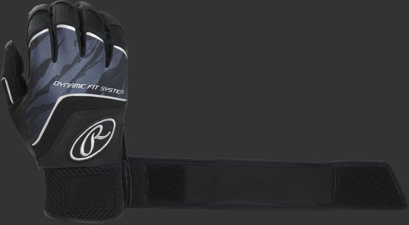 A black WHCSBG Adult Workhorse batting glove with the compression strap an strapped