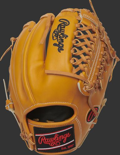 Tan back of a HOH R2G Modified Trap-Eze web glove with a black Rawlings patch - SKU: PROR205-4T