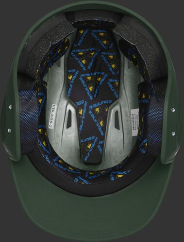 Inside of a MCH07A Rawlings Mach helmet with black foam padding