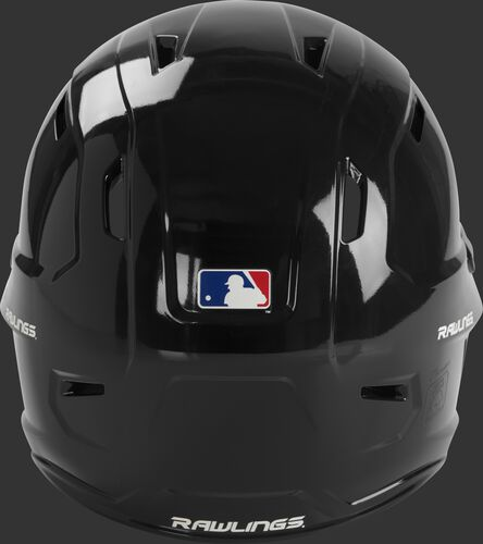 Back of a gloss black MCC01 Mach batting helmet with the MLB logo sticker