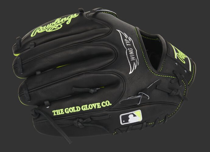 Black finger backs of a Heart of the Hide Wing Tip glove with the MLB logo on the pinkie - SKU: PRO205W-30BOY