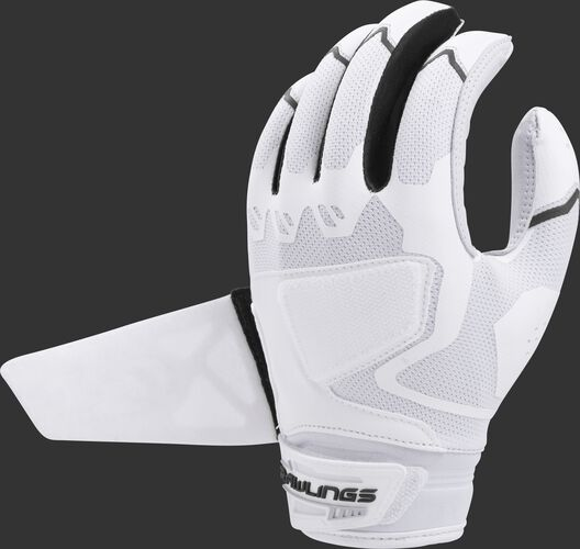 A white/black FPWPBG-B Rawlings women's Workhorse batting glove with the Impax pad removed