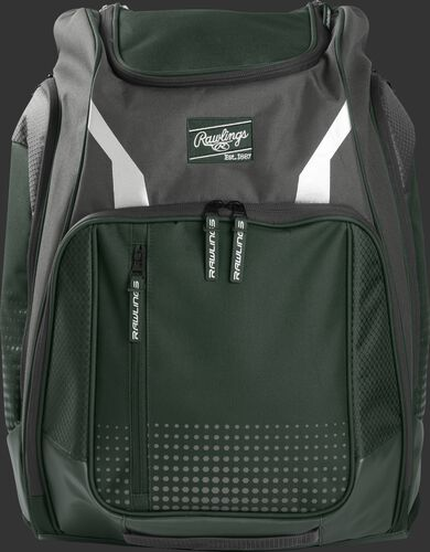 A dark green Legion backpack with a dark green Rawlings patch on the front - SKU: LEGION-DG