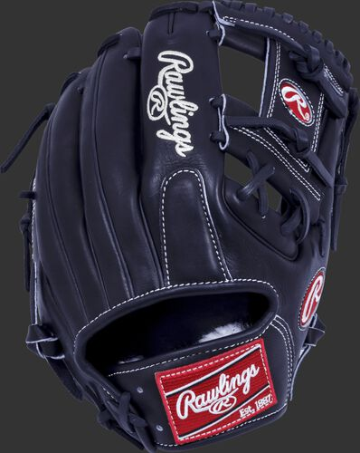 Black back of a Pro Preferred 11.5-inch I-web glove with a red Rawlings patch - SKU: PROS1150KB