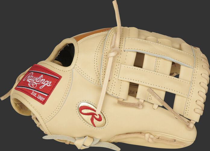 "Thumb of a Gameday 57 Series DJ LeMahieu Pro Preferred glove with a gold ""Oval-R"" and camel H-web - SKU: PROSNP4-DJ26"