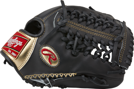 Thumb of a black RGG206-3B Gold Glove 12-inch infield/pitcher glove with hand sewn welting and black Modified Trap-Eze web