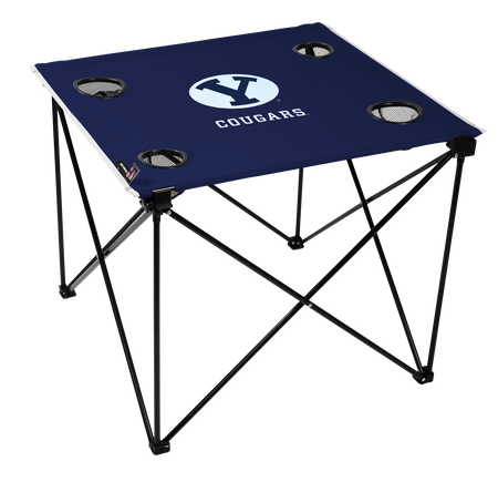 A blue NCAA BYU Cougars deluxe tailgate table with four cup holders and team logo printed in the middle
