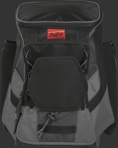 Front of a gray/black R600 Players team backpack