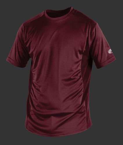Front of Rawlings Maroon Youth Short Sleeve Shirt - SKU #YSBASE