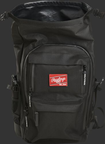 A black Rawlings CEO backpack with the roll top compartment opened up - SKU: CEOBP-B