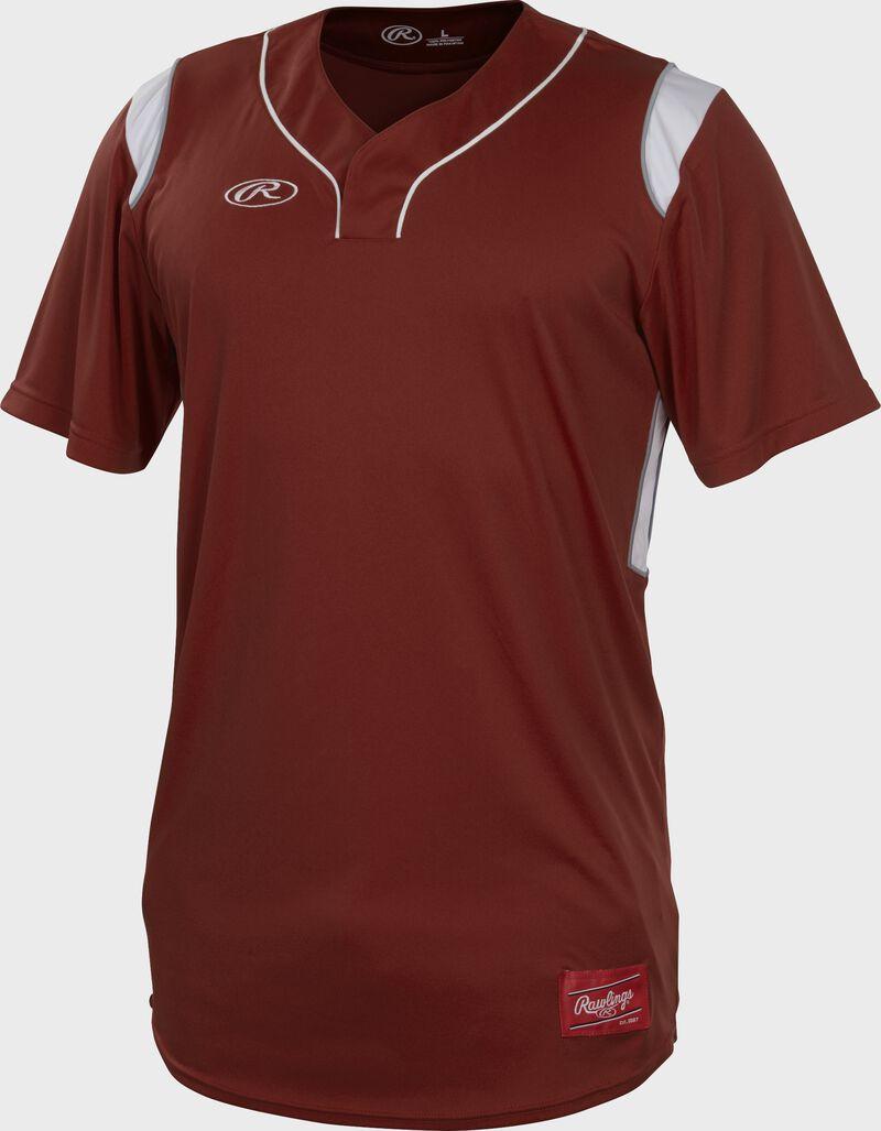 A cardinal Rawlings short sleeve hidden button jersey with white shoulder inserts - SKU: HBJ-C